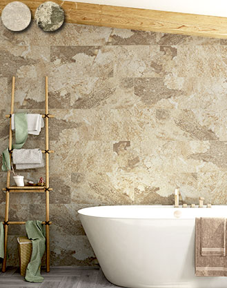 Cream Stone Effect Bathroom Tiles
