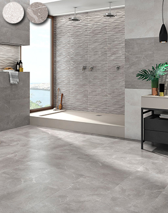 matching wall and floor tiles