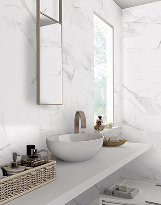 matt white marble effect porcelain wall and floor tile 19394