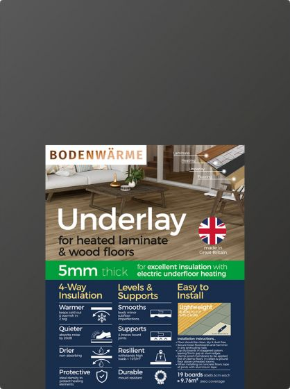 Laminate & Wood Underlay Insulation for Electric Underfloor Heating-Excludes Foil Joint Tape (Timber Sub-floor)