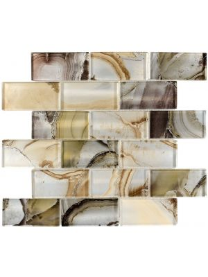Onyx Pearlescent Mixed Modular Glass Mosaic