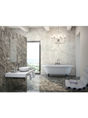 Nairobi Perla Light Grey Marble Effect Wall Tile 28x85