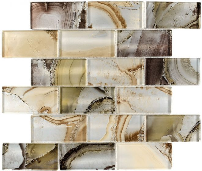 Glass Mosaic Tile | Onyx Beige Subway
