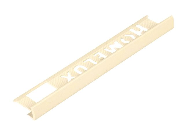 Tile Trim Soft Cream 8mm Straight Edge PVC Homelux 1.2m