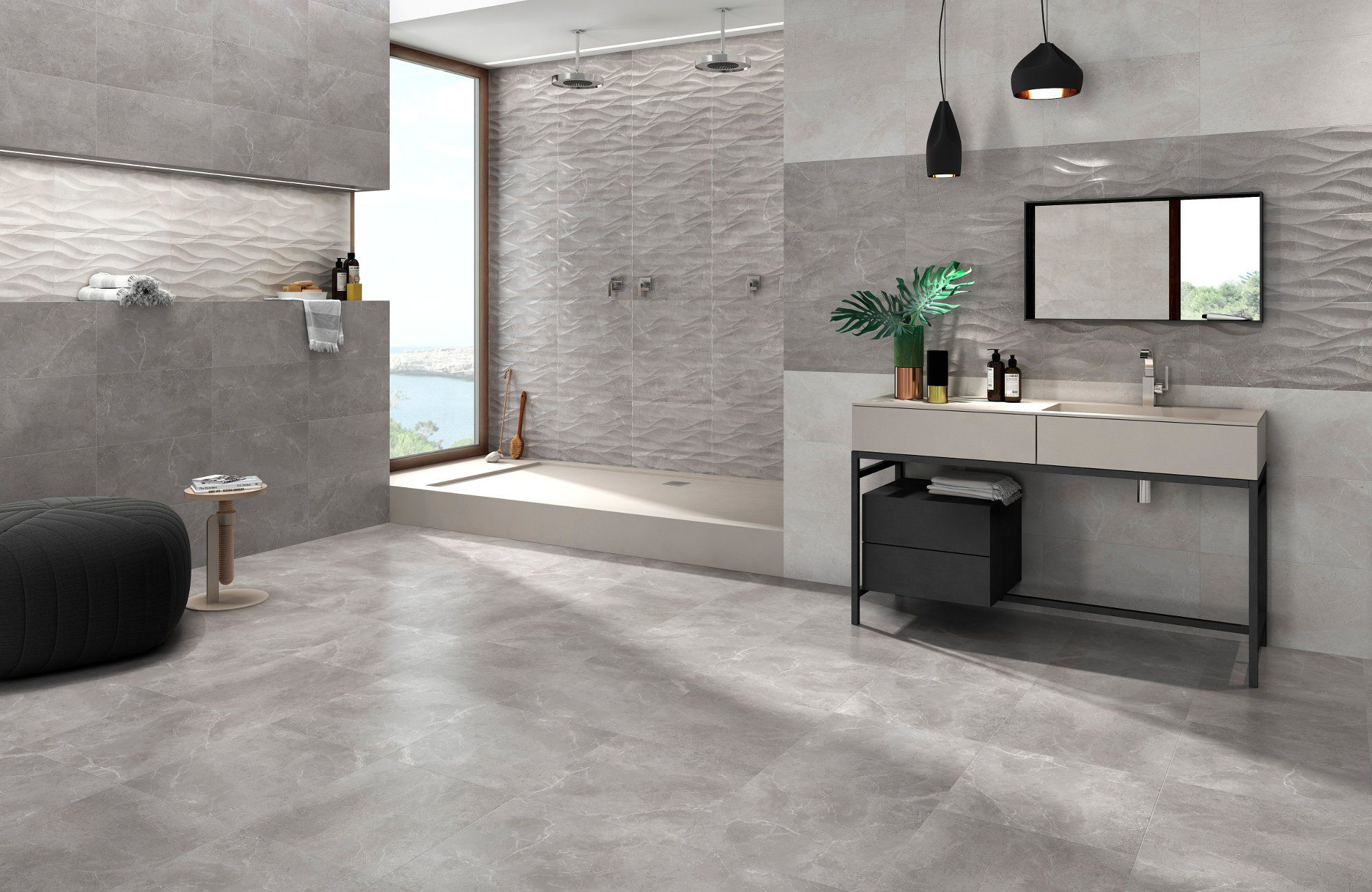 Marble Effect Matt Light Grey Wall Tile 330 X 550mm