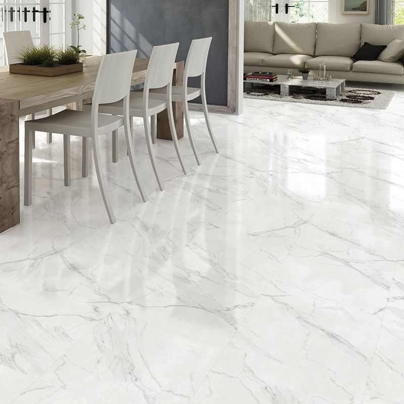 White Marble Effect Gloss Ceramic Floor Tile Only £9.98 /m²