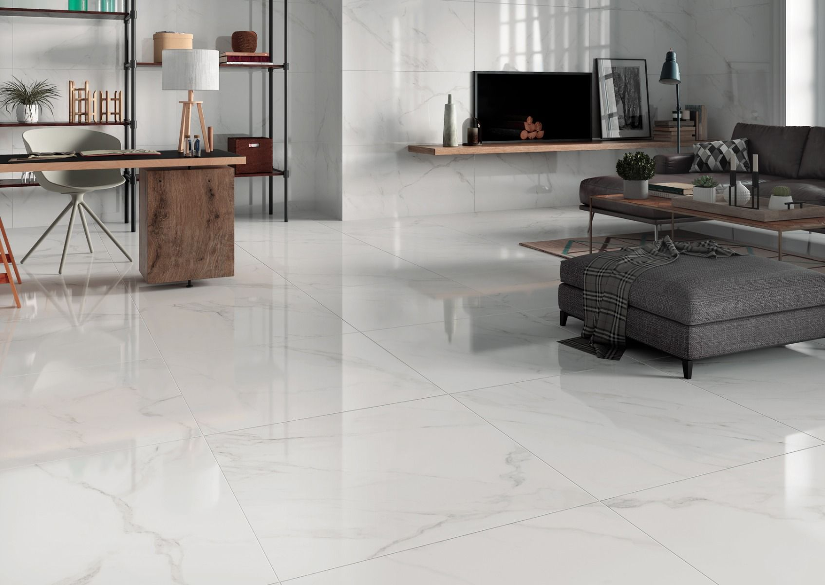 White Marble Effect Polished Porcelain Floor Tile 800 X 800mm 19 98 M
