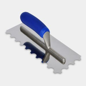 Professional Stainless Steel Adhesive Trowel 20mm Round Notch for Large Tiles