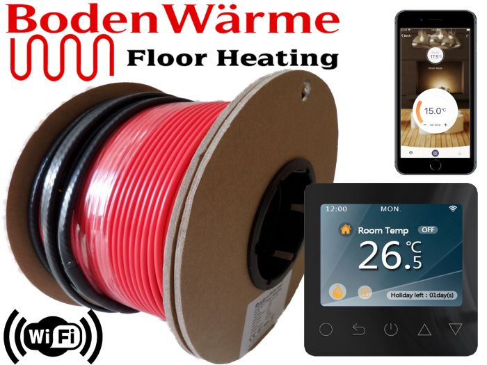 Electric Cable Underfloor Heating Kit + WiFi Thermostat