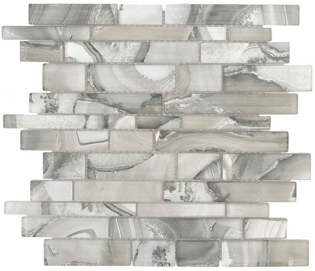 Glass Mosaic Tile Onyx Grey Random