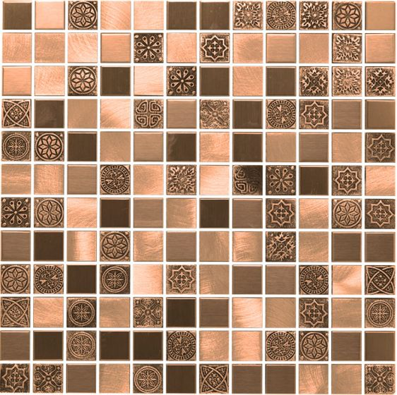 Copper Mixed Metal Stone Patterned Mosaic