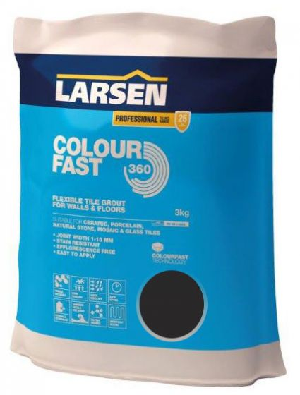 Colour Fast 360 Flexible Wall & Floor Grout Black 3kg