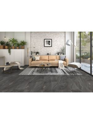 Arkon Dark Grey Mixed Stone Effect Porcelain Wall & Floor Tile