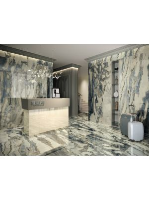 Bello Blue Polished Marble Effect Porcelain Tile 1200x1200mm