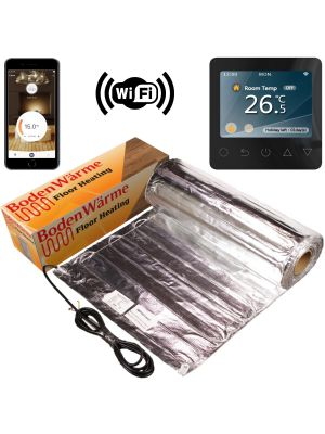 Underfloor Heating Kit for Laminate / Wood + Black WiFi Thermostat