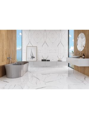 Carrara White Marble Effect Polished Porcelain Tile 600 x 600mm