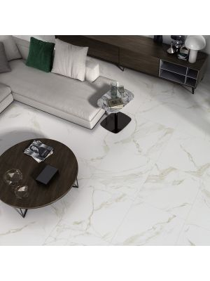 Calacatta Gold Gloss Marble Effect Porcelain Floor Tile