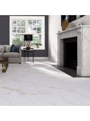 Calacatta Gold Matt Marble Effect Porcelain Floor Tile
