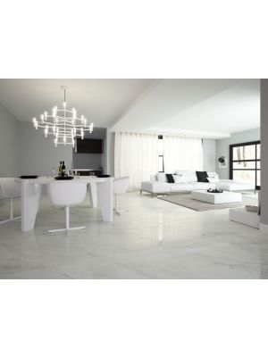 Calacatta White Marble Effect Porcelain Floor Tile 600x600 Gloss