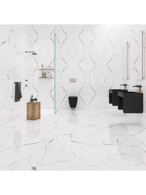 Carrara White Marble Effect Polished Porcelain Tile 300 x 600mm