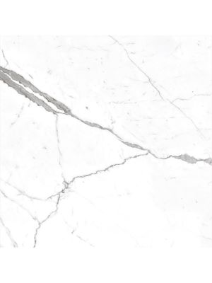 Polished White Marble Effect Rectified Porcelain Tile 600 x 600mm