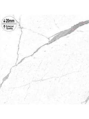 Carrara White Marble Effect 20mm Non Slip External Floor Tile