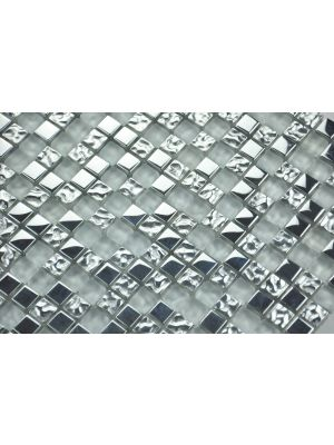 Glass Mosaic Tile | Silver Mix Effect 15 x 15 mm