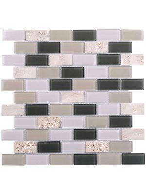 Glass Stone Mix Brick Bond Mosaic Tile