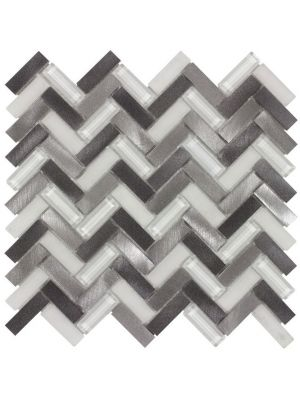 Herringbone Grey Glass Metal Mix Mosaic Tile