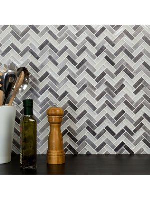Herringbone Grey Glass Metal Mix Mosaic