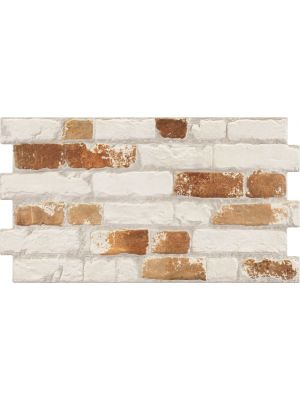 Manhattan Rustic White & Red Brick Effect Tiles