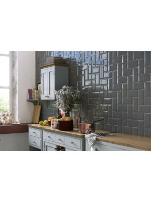 Metro Underground Bevelled Dark Grey Wall Tiles 200 x 100