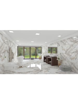 Milan Polished Marble Effect Porcelain Tile 1200 x 600mm
