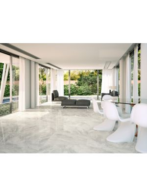 Nairobi Perla Light Grey Marble Effect Ceramic Floor Tile 447x447