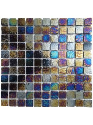 Nebula Black Diesel 25 x 25mm Glass Mosaics