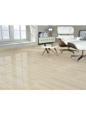 Palmer Cream Gloss Wood Effect Floor Tile