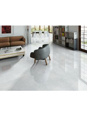 Rectified Light Grey Marble Effect Porcelain Floor Tile