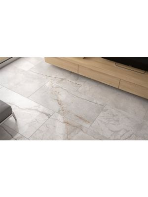 Sicilian Grey Polished Marble Effect Porcelain Tile 1200x600mm