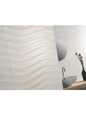 Silueta Blanco Brillo Gloss White Wave Wall Tiles 31.6x63.2
