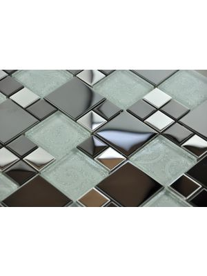 Metallic Modular Mosaic Tile | Chrome Black & Silver Detailed Glass