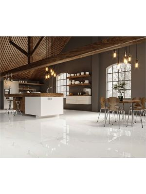 Statuario White Marble Effect Polished Porcelain Tile 1000x1000mm