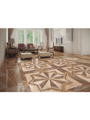 Umbria Multicolour Patterned Marble Effect Floor Tile