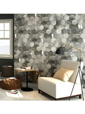 Vesta Geo Hexagonal Grey Porcelain Tile