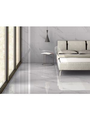White Marble Effect Gloss Porcelain Wall and Floor Tile