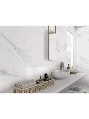 White Marble Effect Matt Porcelain Wall and Floor Tile