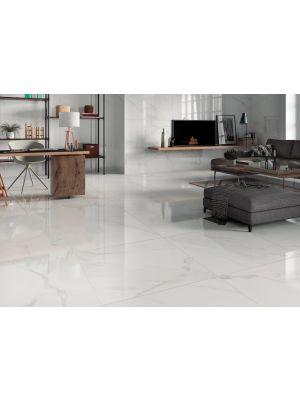 White Marble Effect Polished Porcelain Floor Tile 800 x 800mm