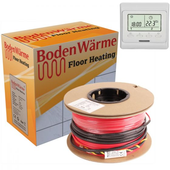 Electric Underfloor Heating Cable Kit + Digital Thermostat 150w /m²