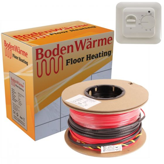 Electric Underfloor Heating Cable Kit + Manual Thermostat 150w /m²
