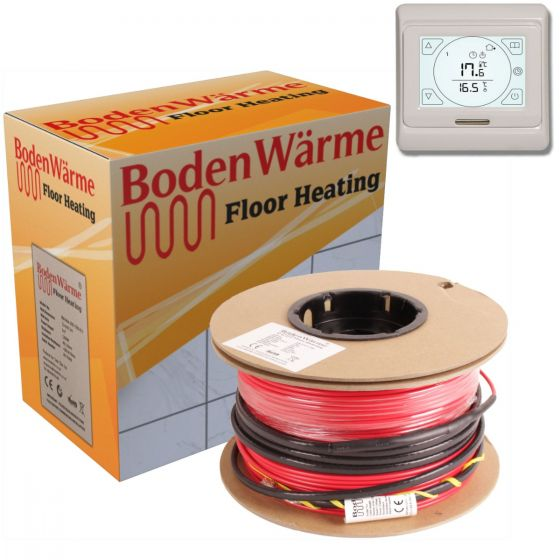 Electric Underfloor Heating Cable Kit + Touch Screen Thermostat 150w /m²