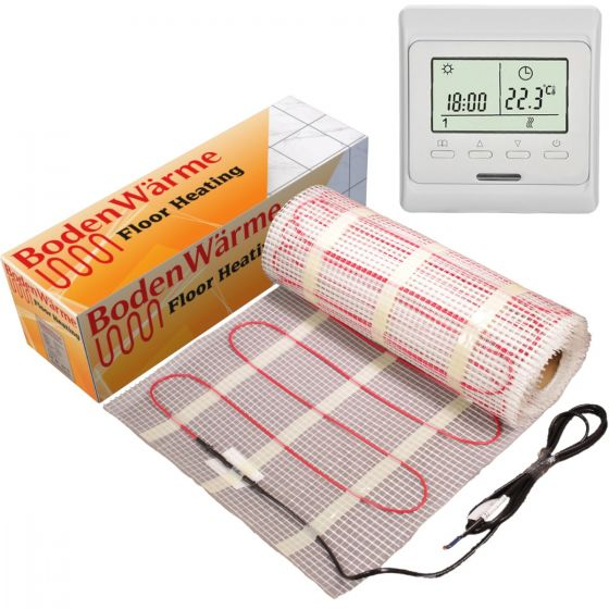 Electric Underfloor Heating Mat 16m² 150w / m² + Digital Thermostat (10² mat + 6m² mat)